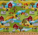 Cotton Sheep Barns Fields Country Yarn Balls Sunflowers Flowers Trees Farm Animals Lambs Grass Hills Pasture Knitters Knit Happy Whimsical Cotton Fabric Print by the Yard (1077-10)
