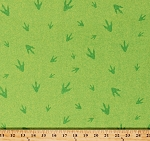 Cotton Dinosaurs Footprints Theropods T-Rex Fossils Dino-Might Kids Children's Boys Green Cotton Fabric Print by the Yard (4674-26429)