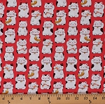 Cotton Cats with Fish Cute Kittens Animals Sushi Seafood on Red Feline Cotton Fabric Print by the Yard (22366-24RED)