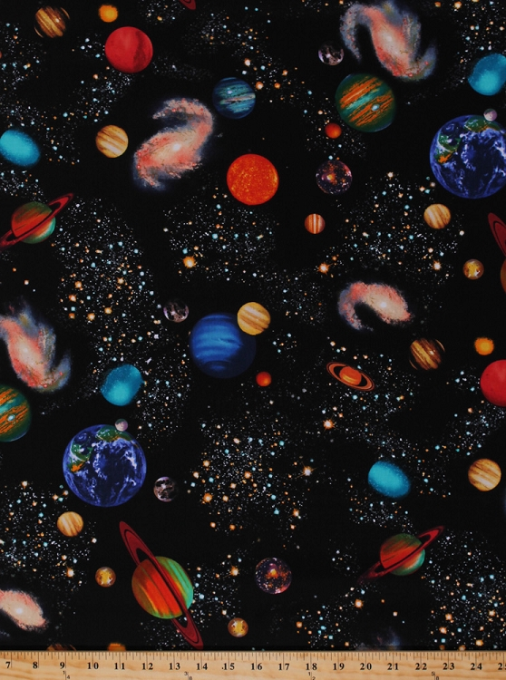 Cotton planets solar system outer space stars earth for Space themed fleece fabric