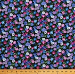 Cotton Morning Glories Morning Glory Flowers Floral Garden Landscape Medley Cotton Fabric Print by the Yard (540GREEN)
