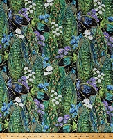 Cotton Peacocks Birds Feathers Flowers Hyacinths Floral Nature Scenic Green Plumage Cotton Fabric Print by the Yard (94612-974)