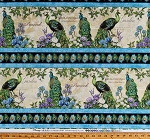 Cotton Peacocks Birds Feathers Latin Names Flowers Floral Nature (4 Parallel Stripes) Plumage Cotton Fabric Print by the Yard (96411-147)