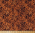 Cotton Pretzels Pretzel Twists Food Salty Snacks One of a Kind Cotton Fabric Print by the Yard (50909-X)
