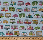 Cotton On the Road Metallic Campers Trailers Camping Aqua Retro Cotton Fabric Print by the Yard (afem-16510-70-aqua)