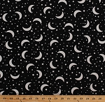 Cotton Moons Stars Night Sky Space Kids Glow-in-the-Dark Black Cotton Fabric Print by the Yard (MOON-CG5530-BLACK)