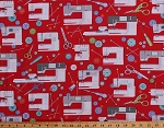 Cotton Sewing Machines Sewing Notions Supplies Seamstress Buttons Pins Scissors on Red Sewing Room Cotton Fabric Print by the Yard (3400A-10)