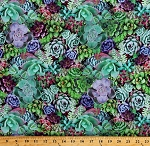 Cotton Succulents Desert Plants Floral Landscape Nature One of a Kind Green Purple Pink Cotton Fabric Print by the Yard (50908-X)