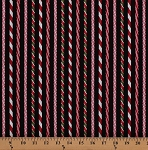 Cotton Candy Canes Holidays Holly Jolly Christmas Candy Cane Stripes on Black Cotton Fabric Print by the Yard (AAK-11307-223-holiday)