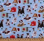 Cotton Christmas Cats Kittens Santa Hats Gifts Presents Ornaments Animals Pets Holiday Friends Blue Cotton Fabric Print by the Yard (4200-BLUE)