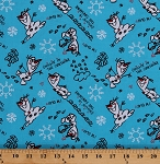 Cotton Disney Frozen Olaf Sketch Snowman Snowflakes Hearts Quotes on Blue Kids Cotton Fabric Print by the Yard (54507-1600715)