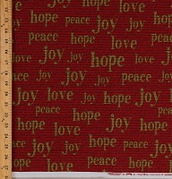 Cotton Holiday Phrases Words Joy Peace Hope Love on Red Festive Have Yourself a Merry Little Christmas Cotton Fabric Print by the Yard (5700-11)