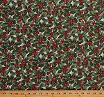 Cotton Holly Leaves Berries Allover on White Christmas Holiday A Festive Season Gold Metallic Shimmer Cotton Fabric Print by the Yard (2652M-07)
