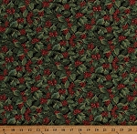 Cotton Holly Leaves Berries Allover on Black Christmas Holiday A Festive Season Gold Metallic Shimmer Cotton Fabric Print by the Yard (2652M-12)