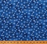Cotton Snowflakes Snow on Royal Blue Landscape Medley Winter Holiday Cotton Fabric Print by the Yard (532ROYAL)