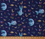 Cotton The Pout-Pout Fish Cute Sea Creatures Animals Children's Book Characters on Blue Kids Cotton Fabric Print by the Yard (C8250-BLUE)