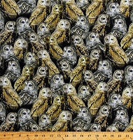 Cotton Barn Owl Owls Allover Birds Wildlife Nature Nocturnal Wonders Gray Gold Cotton Fabric Print by the Yard (1649-27066-J)
