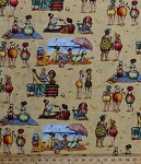 Cotton Fruit Ladies Mary Stewart Beach Sand Summer Beach Towels Umbrellas Cotton Fabric Print by the Yard (1519-sand)