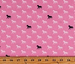 Cotton Horses Equestrian Animals Cowgirl Western Black and White on Pink Derby Style Cotton Fabric Print by the Yard (C4422-PINK)