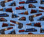 Cotton Trains on Blue Cargo Cars Engine Caboose Railroad Crossing Signs Railway Railcar Coaches Freight Locomotives Transportation Travel A Ticket To Ride Cotton Fabric Print by Yard (4104EQ-60239)
