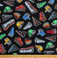 Cotton Trains Train Engines Locomotives Railroad Transportation Vehicles on Black Cotton Fabric Print by the Yard (GM-C6350)