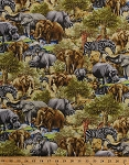 Cotton Jungle Party Elephants Rhinoceros Rhinos Zebras Hippos Hippopotamus African Safari Animals Trees Scenic Cotton Fabric Print by the Yard (112-29551)