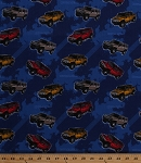 Cotton General Motors Hummers SUVs Vehicles Tire Tracks Navy Blue Cotton Fabric Print by the Yard (18200-nav1)