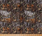 Cotton Realtree Deer in the Woods Camouflage Camo Hunting Cotton Fabric Print by the Yard (10152)