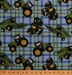 Cotton John Deere Tractors on Plaid Blue Cotton Fabric Print by the Yard (54789-1600715)