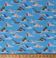 Cotton Swimmers Swimming People Water Sports Blue Cotton Fabric Print by the Yard (GM-C6896-BLUE)