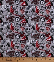 Cotton University of Alabama Crimson Tide Bama UA Big Al Elephant Mascot Logos Allover on Gray NCAA College Sports Team Digital Print Cotton Fabric Print by the Yard (AL-1164)