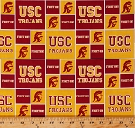Cotton University of Southern California USC Trojans College Team Cotton Fabric Print by the Yard (usc020)
