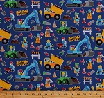 Cotton Construction Workers Kids Toys Building Blocks Vehicles Tools Dump Trucks Cranes Bulldozers Blue Cotton Fabric Print by the Yard (kidz-c2749-royal)