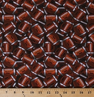 Cotton Footballs Packed Balls Brown Sports Cotton Fabric Print by the Yard (11331004-1)