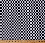 Cotton Racing Check Black and White Checks Checkers Checkered Squares Cotton Fabric Print by the Yard (CHECK-C6799-BLACK)