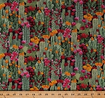 Cotton Cactus Cacti Prickly Pear Plants Floral Desert Flowers Succulents Nature Landscape Southwestern Cotton Fabric Print by the Yard (WEST-C6178-CACTUS)