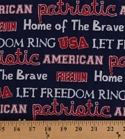 Cotton Patriotic Phrases Words on Blue America USA Home of the Brave Fourth of July Independence Day Cotton Fabric Print by Yard (56686-1600710)