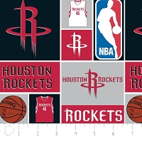 Cotton Houston Rockets NBA Basketball Squares Cotton Fabric Print by the Yard (83hou0001c)