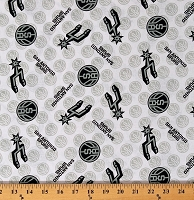 Cotton San Antonio Spurs White NBA Pro Basketball Sports Team Cotton Fabric Print by the Yard (83SAS0002-01)