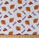 Cotton Los Angeles Lakers White NBA Pro Basketball Sports Team Cotton Fabric Print by the Yard (83lal0002-01)