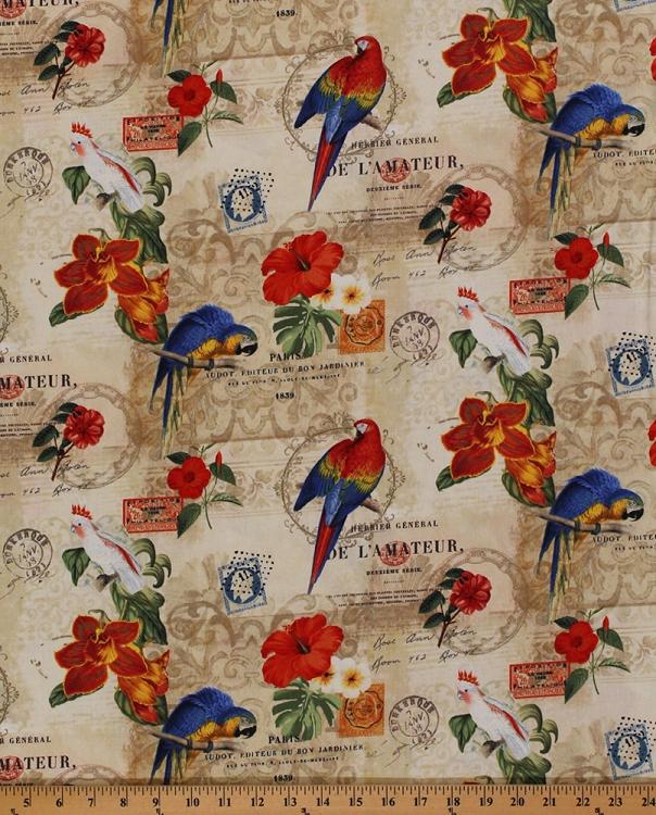 Cotton Rainforest Parrots Birds Flowers Paris French Words