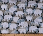 Cotton Bears Silhouettes Woodland Animals Northwoods Bear Collage Into the Woods II Cotton Fabric Print by the Yard (08719-45)