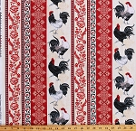 Cotton Roosters Chickens Farm Animals Birds Poultry Country Farmhouse Floral Red Taupe (4 Parallel Stripes) Cotton Fabric Print by the Yard (RUTH-C5996-TAUPE)