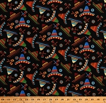 Cotton Sombreros Hats Maracas on Black Mexico Mexican Fiesta Cotton Fabric Print by the Yard (9375-99)