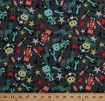 Cotton Bot Boy Graphite Robots Stars Tools on Dark Gray Kids Cotton Fabric Print by the Yard (cx7248-grph-d)