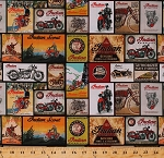 Cotton Indian Motorcycles Vintage Signs Postcards Bikes Racing Transportation Cotton Fabric Print by the Yard (C7386-BLACK)