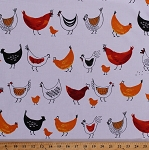 Cotton Chickens Roosters Hens Chicks Poultry Fowl Farm Animals Birds Folk Kitchen Food White Metro Market Cotton Fabric Print by the Yard (AMZ-14819-1--WHITE)