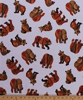 Cotton Brown Bear, Brown Bear Bears Cubs Animals Kids Beary Happy Eric Carle White Cotton Fabric Print by the Yard (A-8557-N)