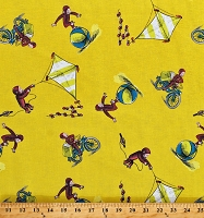 Cotton Curious George Monkeys Kites Balls Toys Playing Delivering Papers Kids Yellow Cotton Fabric Print by the Yard (CP54058)
