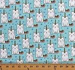 Cotton Caticorn Cats Unicorn Kittens Kitties Cute Animals Stars on Blue Novelty of the Month Kids Fairytale Cotton Fabric Print by the Yard (SC9008-Blue)